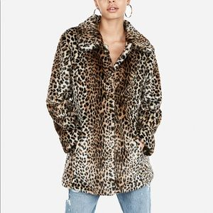 Express Jackets & Coats - Express Faux Fur Leopard Coat